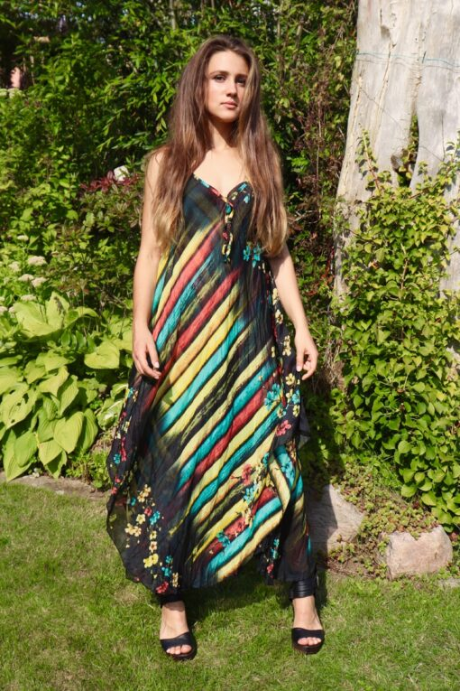 Black summer dress with colorful patterns in soft and airy cotton-