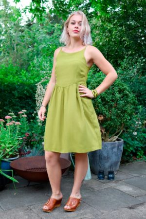 Arsinoe - Amazing olive colored mini dress. Perfect for a hot summer.