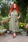 Bellona - Unique green maxi dress. Perfect for the warm summer nights or the cold fall.