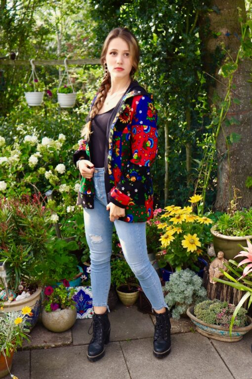 Trendy ethnic inspired colorful short jacket with a hood and pockets