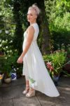 Helene - Beautiful white party dress with flower embroidery. Perfect for a night out.