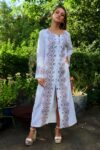 Amazing white ethnic caftan in soft and natural cotton. Perfect as a dress or as a jacket.