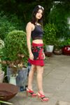 Inspiring colorful mini skirt with patterns and pockets. Onesize wrap skirt in 100 % cotton