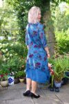 Blue bohemian dress with long sleeves in 2 layers and floral print