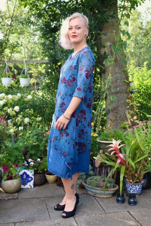 Blue floral dress with long sleeves and i 2 layers pure natural cotton
