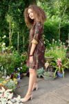 midi everyday dress in mocha with pattern. Solid cotton quality and long sleeves