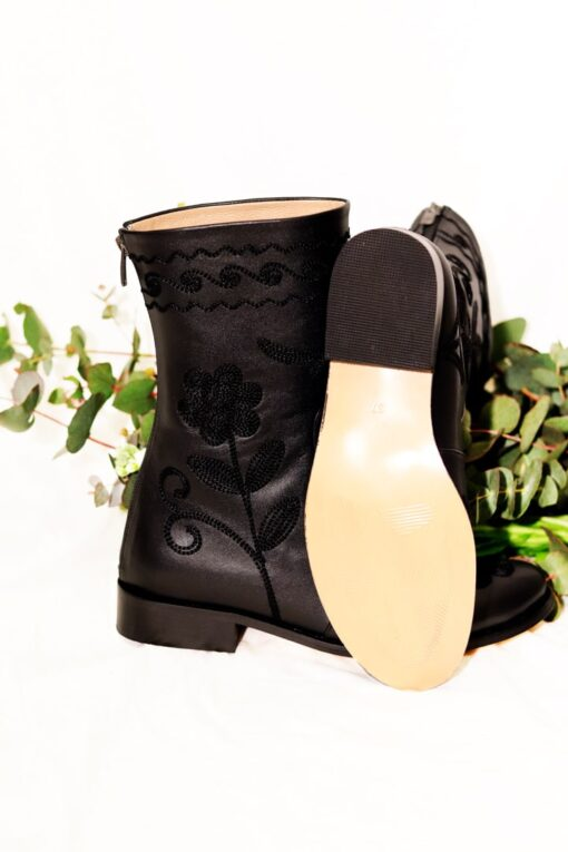 Charito - Cute short leather boot with unique flowers on. Perfect for the weekdays and a night out.