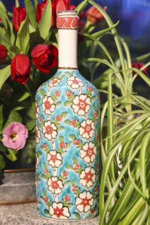 Elaru - Beautiful hand painted bottle. Perfect as applied art and decoration.