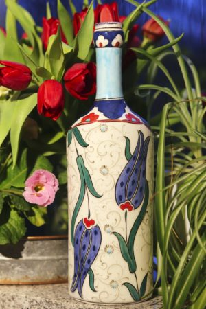Asawa - Unique hand painted lead free ceramic bottle. Perfect to decoration or applied art.