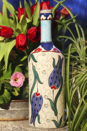Asawa - Unik håndmalet keramikflaske. Perfekt til brugskunst eller pynt.