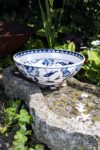 Unik keramik skål i blå og hvide farver. Håndlavet blyfri kvalitet