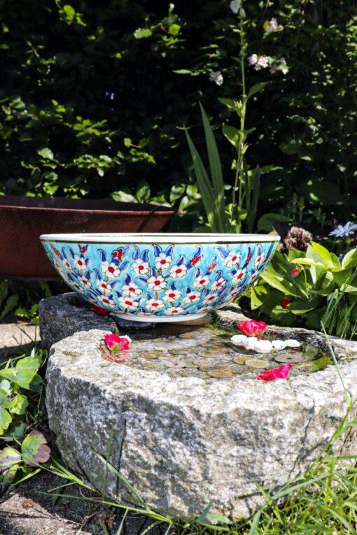 Farverig håndlavet keramik skål med motiv af Livstræet