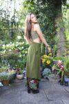 Grøn lang nederdel