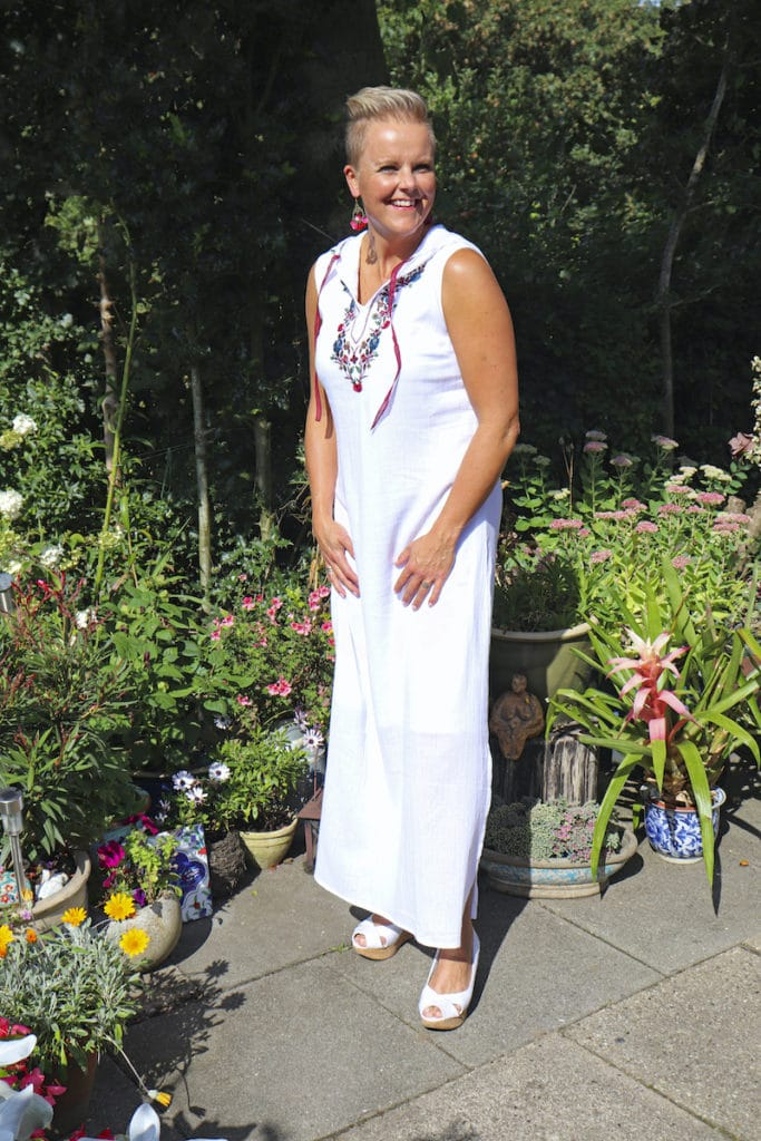 """En af vores modeller i kjolen """"Mytilene""""."""