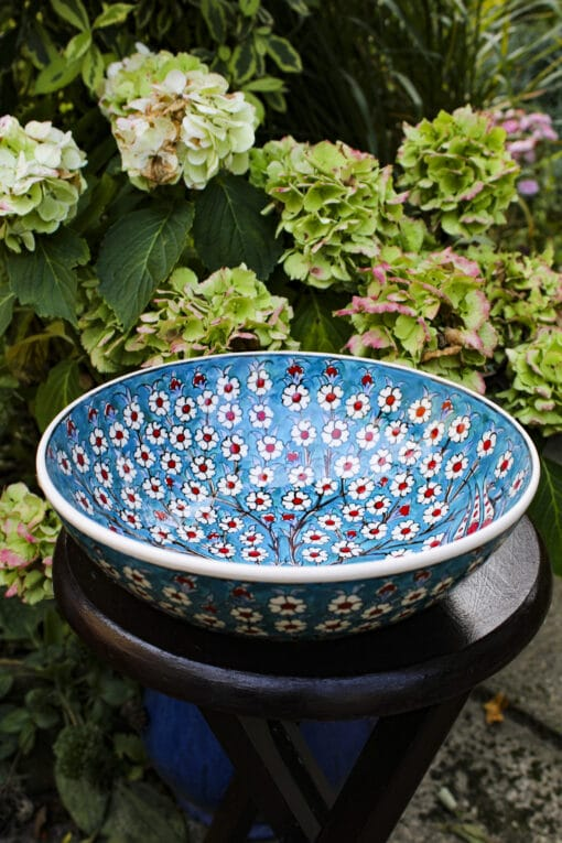 Ceramic bowl handmade with a beautuful motif of the tree of life  in vivid colors