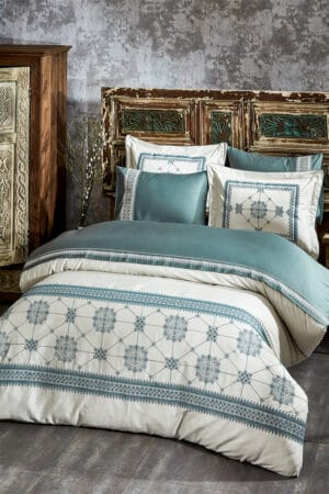 luxury duvet cover set - double size in soft organic cotton satin with embroideries in dusty green/blue colors and 4 pillowcases