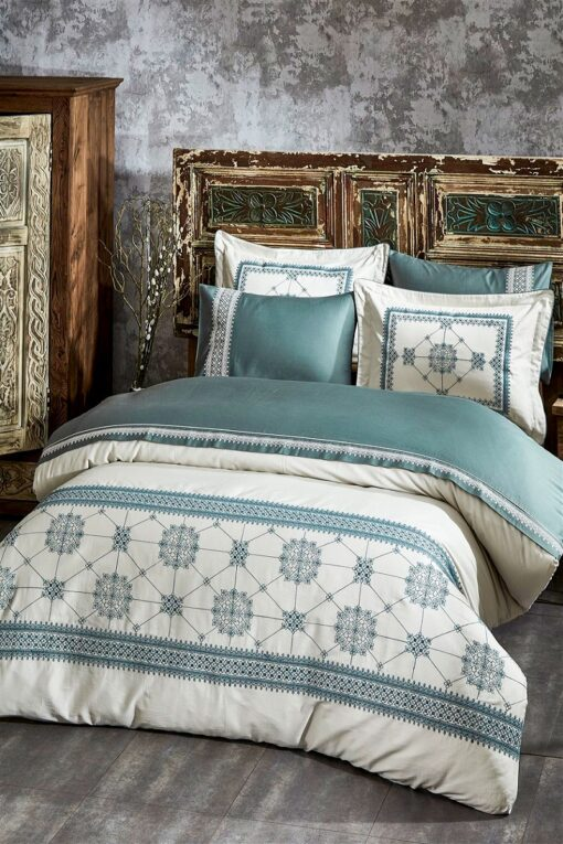 Exclusive bed linen double size in soft organic cotton satin with embroideries in dusty green/blue colors and 4 pillowcases