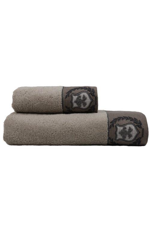 Elegant bomulds håndklæde sæt med håndbroderet motiv