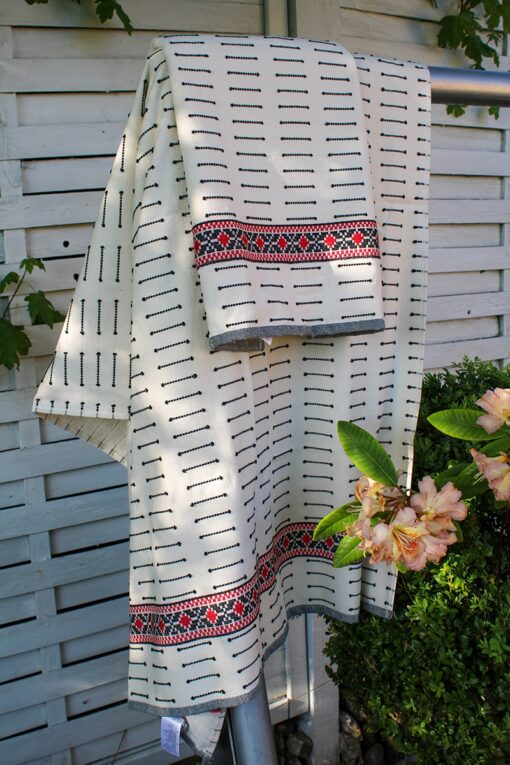 Trendy Turkish towel with ethnic inspired pattern