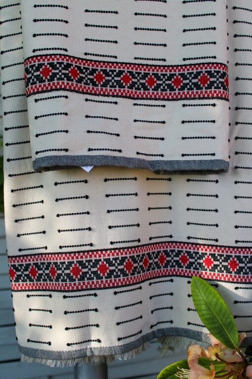 Turkish towel set border in red, black and white nuances