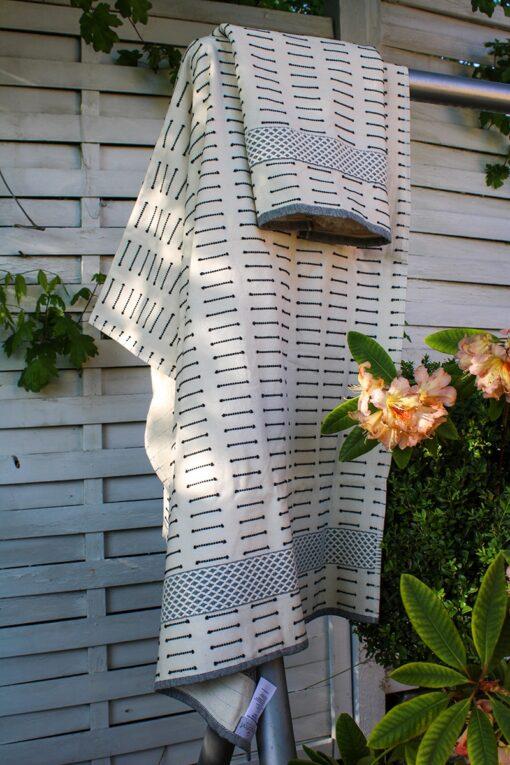 Organisk håndklæde sæt i tyrkisk hamam stil. Naturfarvet med mønstre
