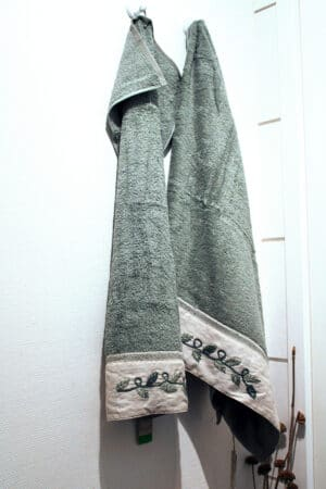 light blue towel set with nature embroideries