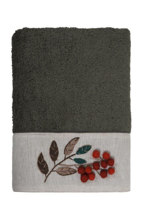Eksklusivt håndklæde sæt i støvet grøn med håndlavet blomsterbroderi på borten