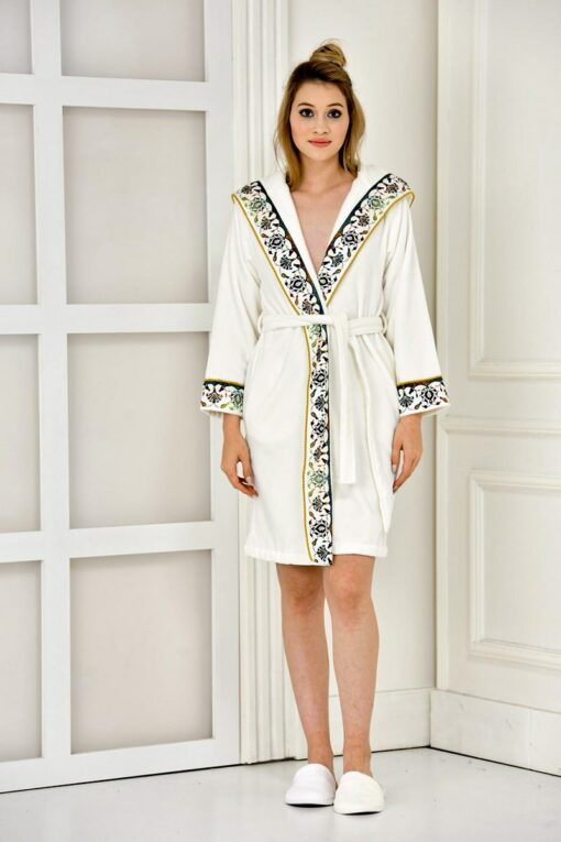 White hooded bathrobe in GOTS certified organic cotton - with prints