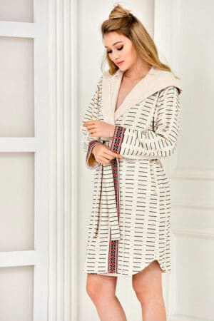 Patterned bathrobe in soft organic cotton - exclusive design