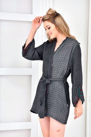 Trendy anthracite grey dressing gown in soft organic muslin fabrics