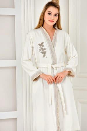 Organic bathrobe for women with elegant embroidery