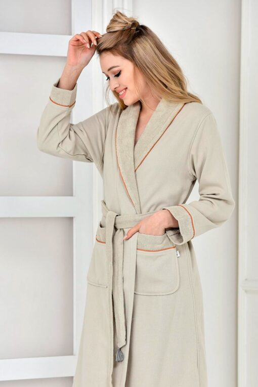 Organic bathrobe with ethnic style print at the back