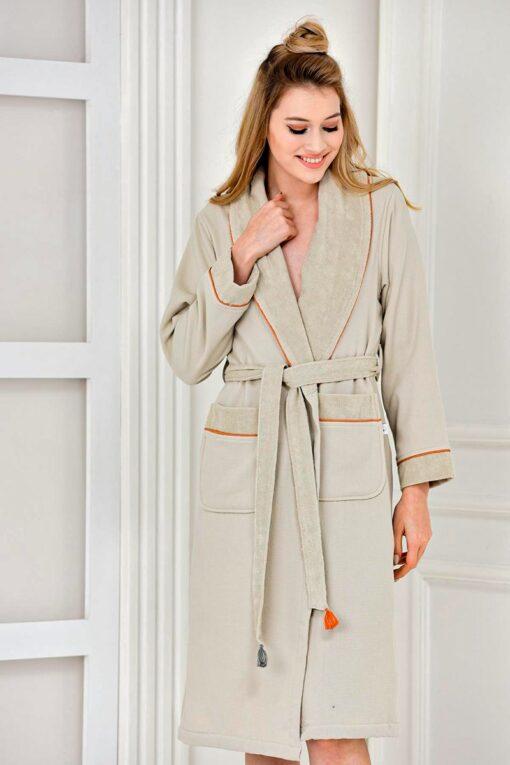 Beautiful beige colored organic bathrobe with print