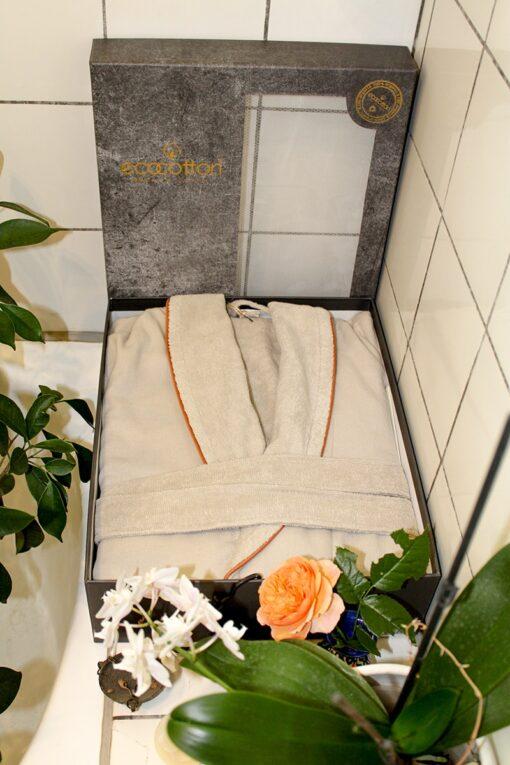 Organic bathrobe in a decorative giftbox