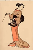 tegning af dame i japansk kimono